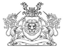 A Crest Coat Of Arms Family Shield Seal Featuring Unicorn Horned Horses And Lion
