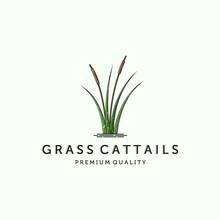 Cattail Or Reed Logo Vector Illustration Design. Simple Modern Minimalist Cattail Logo Design. Creative Cattail Illustration Logo Concept