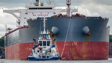 BULK CARRIER - The Ship Is Maneuvering In A Seaport