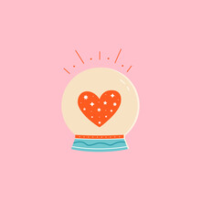Magic Ball Or Fortune Teller With Red Shining Heart Inside. Colorful Vector Illustration In Cartoon Mid Century Style.
