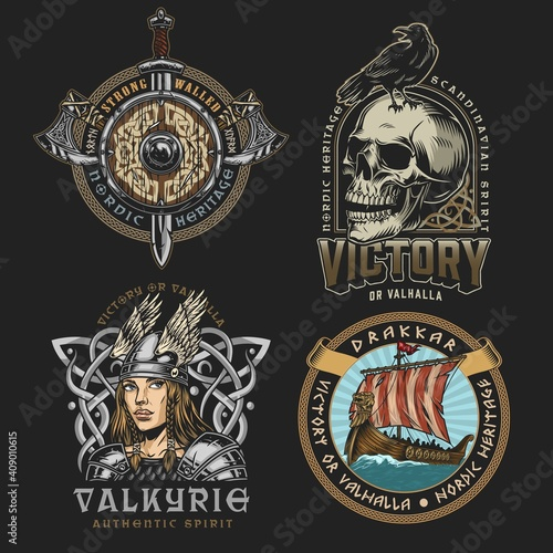 Viking colorful vintage designs © DGIM studio