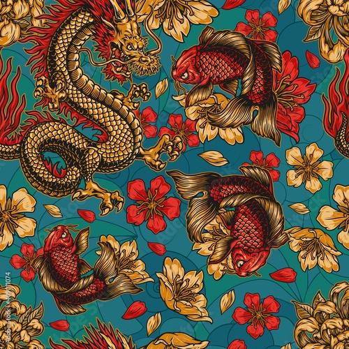 Japanese style vintage colorful seamless pattern © DGIM studio