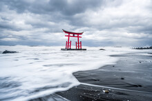 Red Torii Gate Of The Toyosaki Konpira Shrine In Shosanbetsu, Hokkaido, Japan