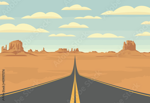 Tela Decorative landscape with an empty highway in the desert with mountains and clouds in blue sky