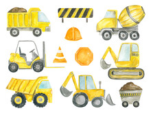 Collection Of Construction Machines Watercolor Hand Painted Dump Truck, Excavator, Bulldozer, Tractor, Concrete Mixer