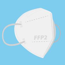 FFP2 Respirator Face Mask On Blue Background Vector Illustration