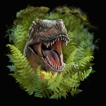 The Head Of A Dinosaur Peeps Out Of The Ferns. Watercolor Drawing. Black Background
