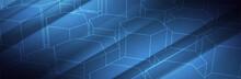 Blue Technology Background. 3d Hexagon Shapes. Futuristic Vector Illustration