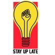 raised fist spotlight stay up late vector