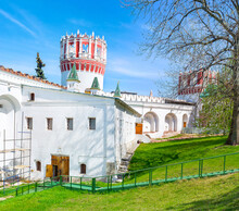 Walking Along Walls Of Novodevichy Convent In Moscow, Russia