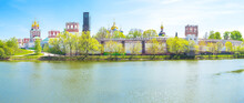 Panorama Of Fortified Novodevichy Monastery In Moscow, Russia
