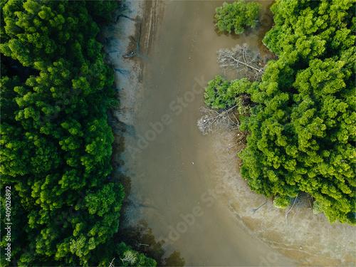 Canvas Print aerial view top down river