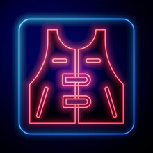 Glowing Neon Hunting Jacket Icon Isolated On Blue Background. Hunting Vest. Vector.