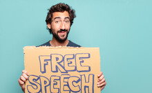Young Bearded Man Free Speech Concept