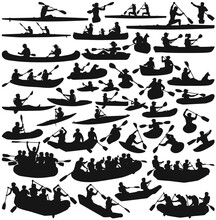 Kayak Canoe And Inflatable Boats Isolated Silhouette Vector Collection