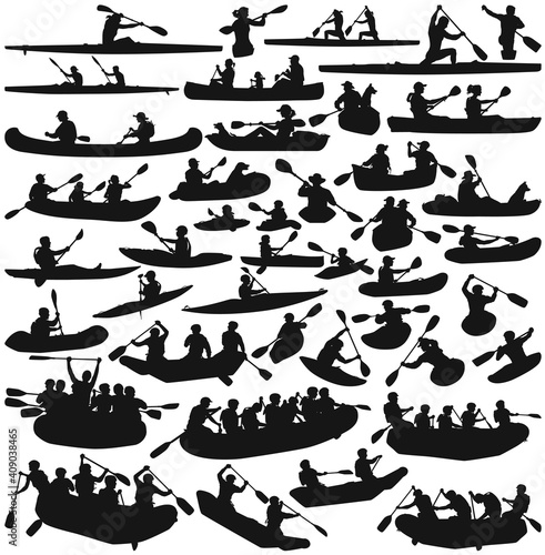 Stampa su Tela kayak canoe and inflatable boats isolated silhouette vector collection