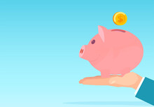 Vector Of A Business Man Hand Holding Pink Piggy Bank With Dollar Coin Deposit