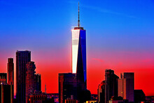 Freedom Tower In New York On Magnificent Blue Red Sky Background, Lower Manhattan, New York City