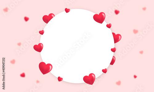 Obraz Marco de corazones románticos para el día de san valentín con espacio de texto - fototapety do salonu