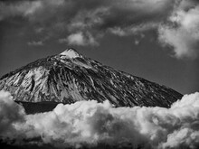 Dramatic Monochrome Of Snowcapped Mount Teide, Tenerife And Clouds