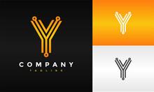 Letter Y Circle Tech Logo