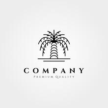 Palm Tree Logo Line Art Vector Illustration Design, Minimalist Palm Logo Design