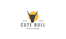 Cow Or Bull Or Bison Head With Sunset Logo Symbol Icon Vector Graphic Design Illustration