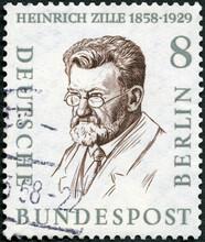 GERMANY - 1957: Shows Rudolf Heinrich Zille (1858-1929), Painter, 1957