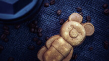 Background From Coffee Beans With Pastries, Cozy Background With Coffee, Teddy Bear Cookies, Fried Beans, Sweets
