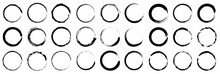 Set Of Grunge Circles. Abstract Black Paint Brushstroke Circles Pack.Set Of Vector Black Circles. Black Spots On White Background Isolated. Vector Illustration.