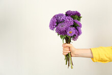 Woman With Bouquet Of Beautiful Asters And Space For Text On Light Background, Closeup. Autumn Flowers