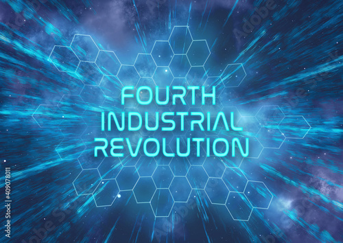 Papel de parede A futuristic Fourth Industrial Revolution typographical illustration that symb