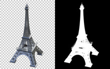 Eiffel Tower Isolated On Background With Mask. 3d Rendering - Illustration