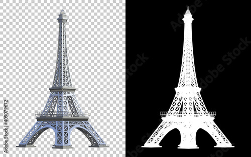 Eiffel tower isolated on background with mask Tapéta, Fotótapéta