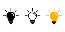 Light Bulb Icon In Three Versions. Lamp Sign. Symbol Of Idea Or Solution. Vector Set For Graphic Design