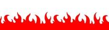 Fire Flame Frame Border. Burning Fire Decoration Element. Vector Illustration