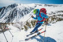 Backcountry Skier Clipping In Above Tuckerman Ravine, NH