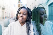 Beautiful African Girl Portrayed On Glass Wall