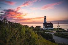 Sunrise At The Portland Head Light Lighthouse In Cape Elizabeth, Maine