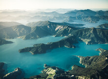 New Zealand South Island Bays And Mountains From The Air