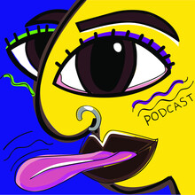 Surrealistic Face Colorful Podcast Inspired By Retro. Colorful Face
