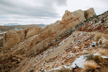 Burr Trail Switchback With Light Snow. Capital Reef National Park Utah
