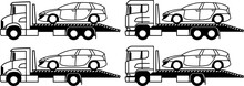 Flatbed Tow Truck - Tow Truck - Tow Truck Platform - Assistance - Set - Package - Monochrome -  Icon - Vector - Service - Emergency