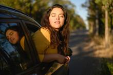 Beatiful Woman Seeing Through A Car Window The Wonderful Nature. Woman
