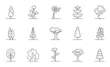 Trees Sign Black Thin Line Icon Set. Vector