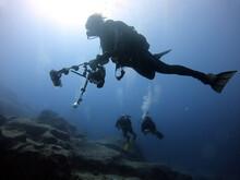 Scuba Divers Under The Sea. Antalya Turkey