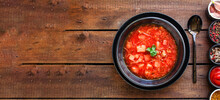 Red Tomato Soup First Course Borscht Meat And Vegetables On The Table No Meat Vegetarian Or Vegan Meal Snack Keto Or Paleo Diet Outdoor Top View Copy Space For Text Food Background Rustic