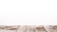 Arrière-plan Blanc Avec Support De Briques Pour Présentation D'objets Publicitaires Pour Promotion De Produits. Aspect Sol En Relief, Fond Blanc Uni.