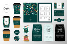 Coffee Branding Identity Set For Coffee Shop Or Cafe. Collection Of Lettering Logo, Menu Template, Paper Cup Design And Loyalty Card. Pouch Bag Packaging Design, Coasters