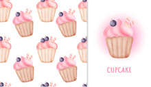 Seamless Pattern Sweet Cupcake And Greeting Card In Water Color Iillustration.